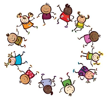 happy children different races circle shape.