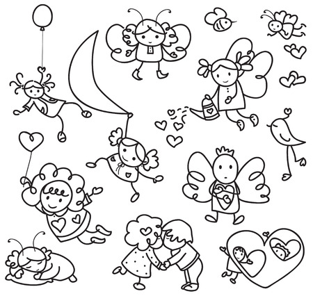 Set of cute angels cartoons. Vector