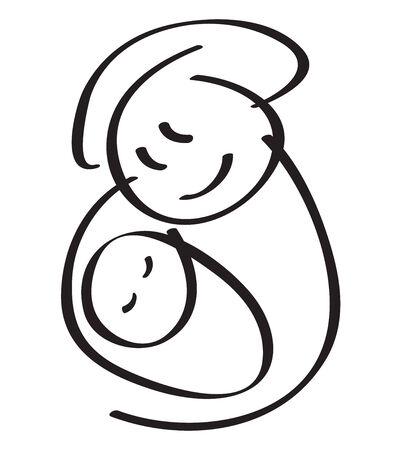 baby moeder: moeder met baby silhouet.