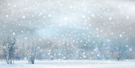 winter scene: winter landscape. Illustration