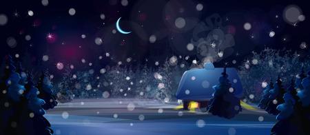 winternacht landschap met huis in het bos. Stock Illustratie
