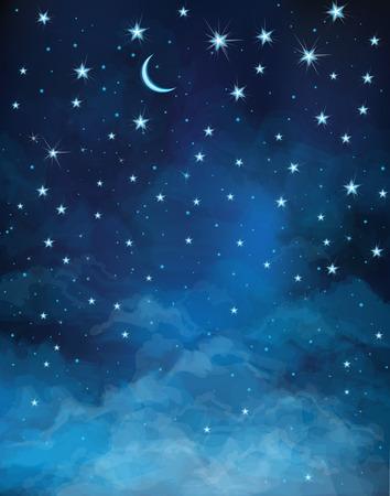 noche estrellada: noche cielo estrellado. Vectores