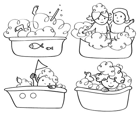 baby bath: Vector bathing kids silhouettes.