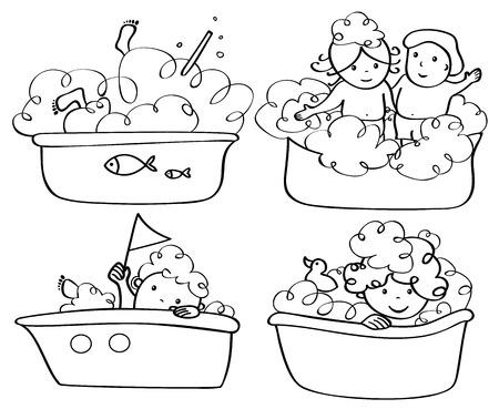 girls bathing: Vector bathing kids silhouettes.