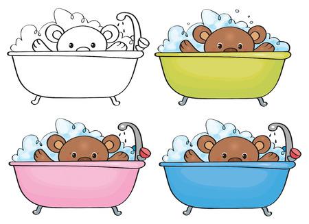 baby bear: Vector bathing baby bear.   Illustration