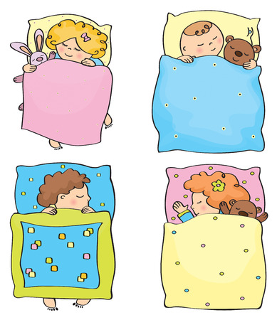 Vector sleeping kids. Ilustrace