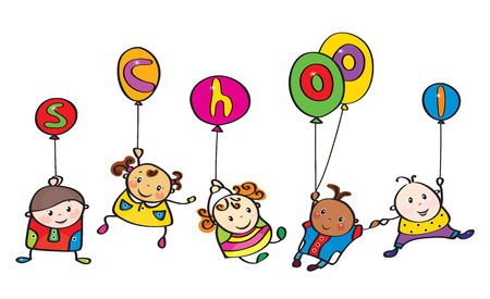 Vector fun kids cartoons  with balloons. Vector