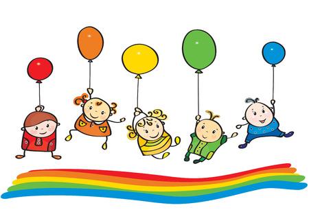 balloon girl: Vector kids rainbow colors.