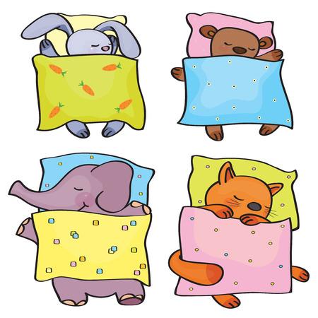 bedtime: Vector sleeping  cute animals  Illustration
