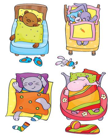 Vector sleeping  cute animals  Illustration