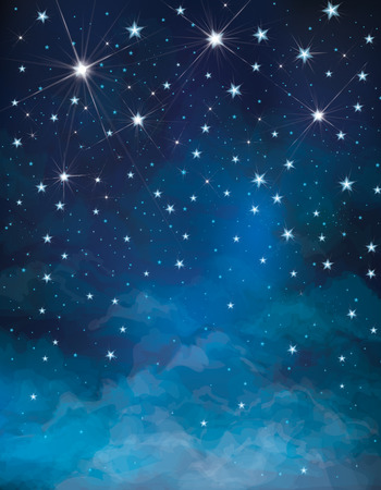 stelle blu: Vector cielo notturno stellato sfondo Vettoriali