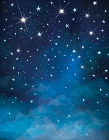 cielo estrellado: Vector noche cielo estrellado de fondo Vectores