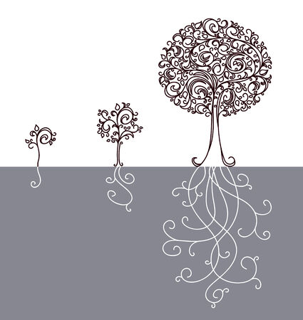 bush to grow up: Vector concept of tree growing up.