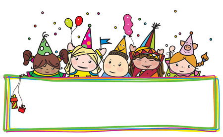 Vector fun birthday kids hiding by colorful frame. Vector