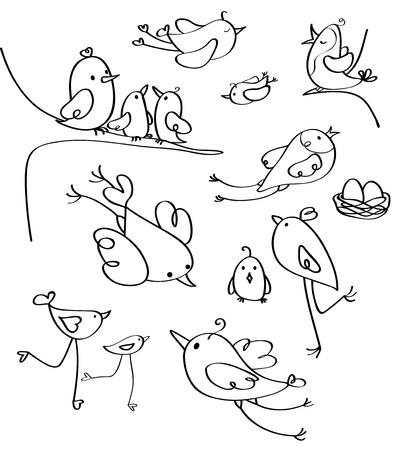 motherly: Vector birds silhouettes. Illustration
