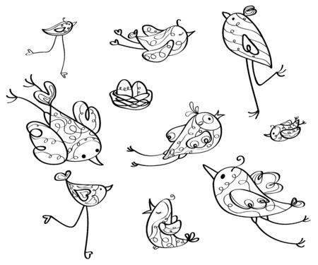 nido de pajaros: Pájaros del vector de las siluetas. Vectores