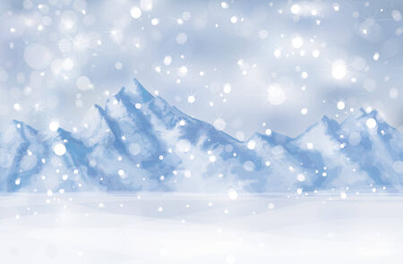 winter scene: Vector of winter scene with mountain background.  Illustration