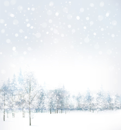 scene: Vector of winter scene with forest background.
