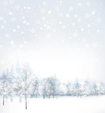 Vettore di scena di inverno con la foresta di sfondo. Archivio Fotografico - 29670266