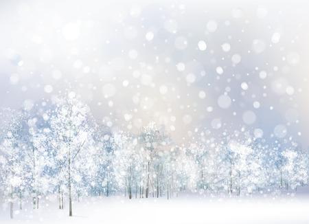 Vector de escena de invierno con bosque de fondo. Ilustración de vector