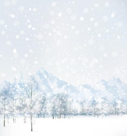 montañas nevadas: Vector de escena de invierno con el bosque y las montañas de fondo.