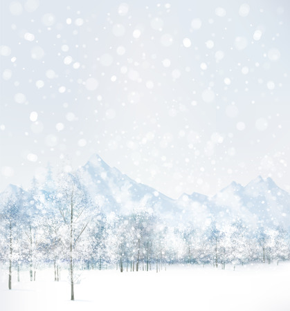snowy landscape: Vector of winter scene with forest and mountain background.