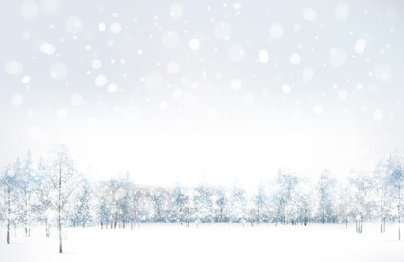 winter scene: Vector of winter scene with forest background.