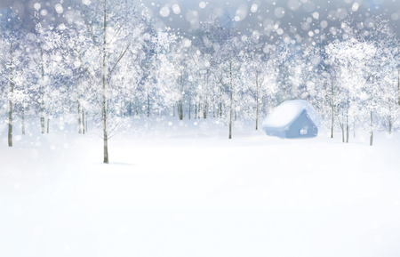 Vector winter scene with house in forest.