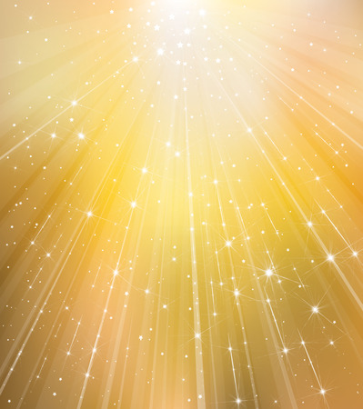 gleam: Vector golden background with rays and stars.