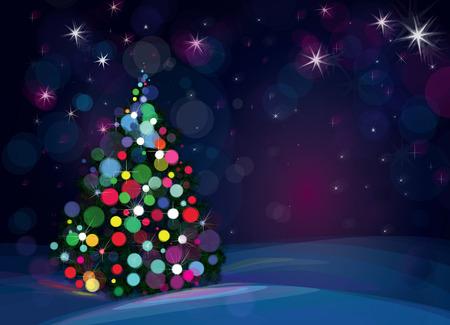 christmas bulbs: Vector Christmas tree on starry background