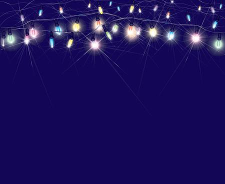 christmas bulbs: Vector Christmas lights on blue background.