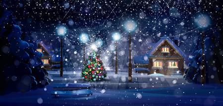faroles: Escena de la noche de invierno. Feliz Navidad!