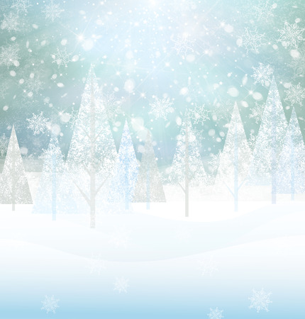 bright: Vector winter snowy background.