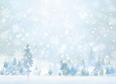 Vector winter scene with forest background. Stock Illustratie