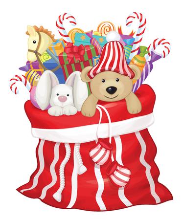 toy sack: Bolsa de Pap� Noel con los juguetes y regalos.