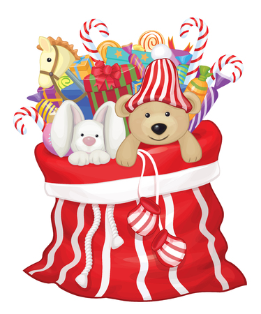Santa Claus bag with toys and gifts. Illustration