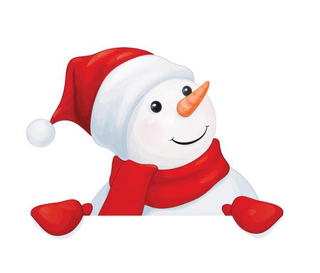 fun snowman hiding by blank isolated.