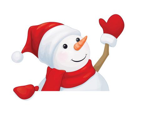 Vector  fun snowman hiding by blank isolated.