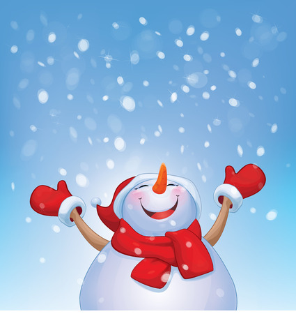 snowman vector: Vector happy snowman and snowfall.