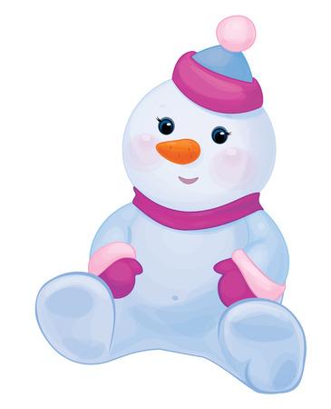 Vector cute baby snowman cartoon isolated.
