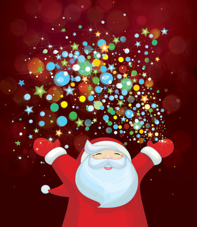 Vector Santa Claus with colorful lights. Vector