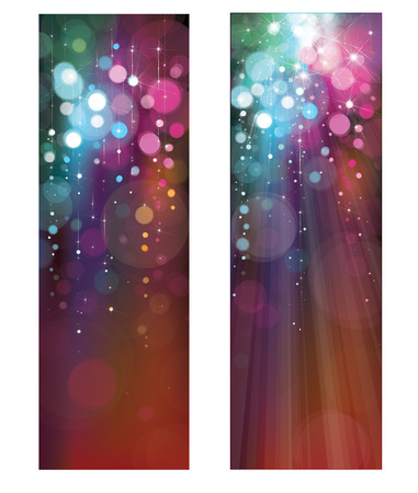 spot lights: Vector glitter colorful banners.