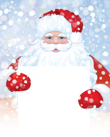 Vector of Santa Claus holding blank on snowfall background. Иллюстрация
