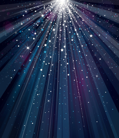 light rays: sky background with lights and stars.