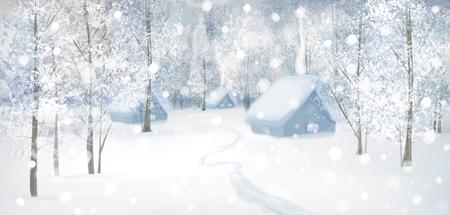 snow scenes: Vector winter snow landscape.