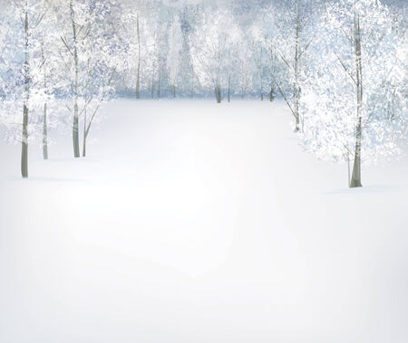 blue christmas background: Vector winter snow landscape.