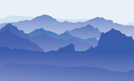 Vector blue silhouettes of mountains backgrounds.