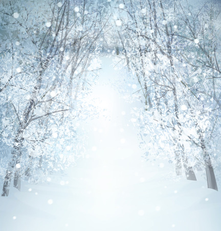winter tree: Vector winter snow landscape.