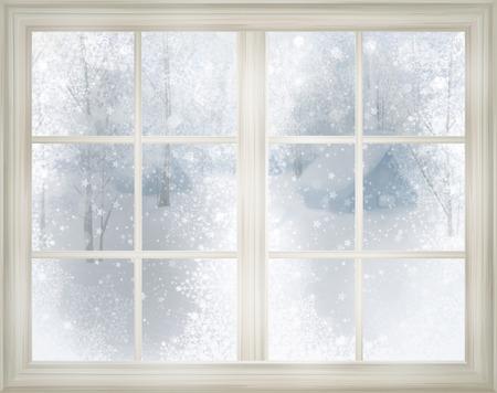 snowy background: Ventana con vista de invierno de fondo nevado.