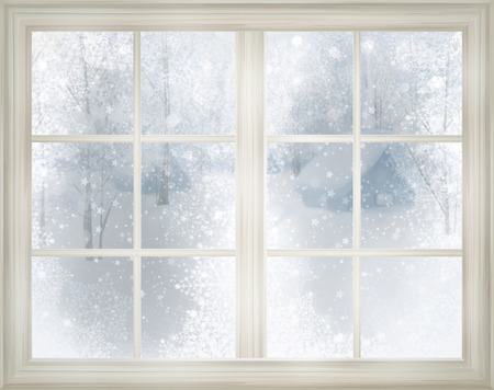 Window with winter view of snowy background. photo